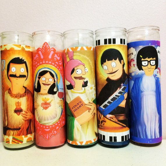 The entire family of Bobs Burgers on 8 prayer candles! Each is customized to their own character.  Alriiiiiiight!  Message me for individual