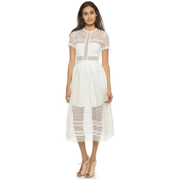 Self Portrait Panelled Dress ($655) ❤ liked on Polyvore featuring dresses, white, print dress, white crochet dress, white cocktail dresses, short sleeve cocktail dress and full pleated skirt