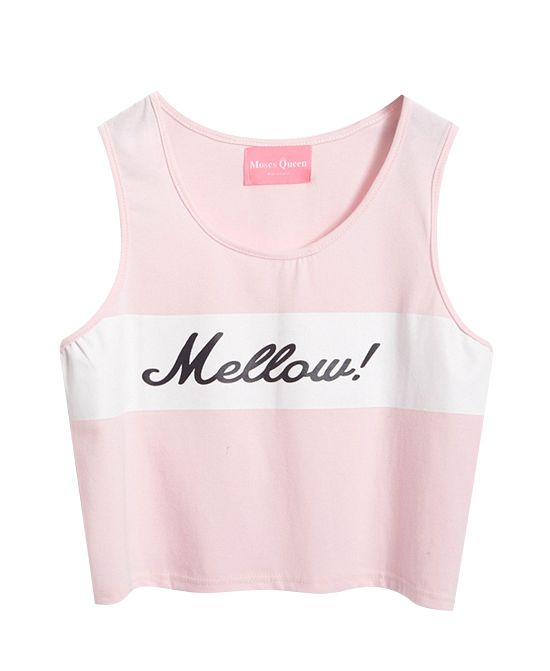 Street Fashion Letter Print Ice-cream Color Crop Top