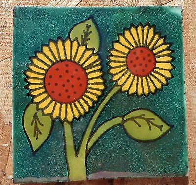 "10~Talavera Mexican 4"" tile pottery Sunflower hand made Flower Green Gold Rust"
