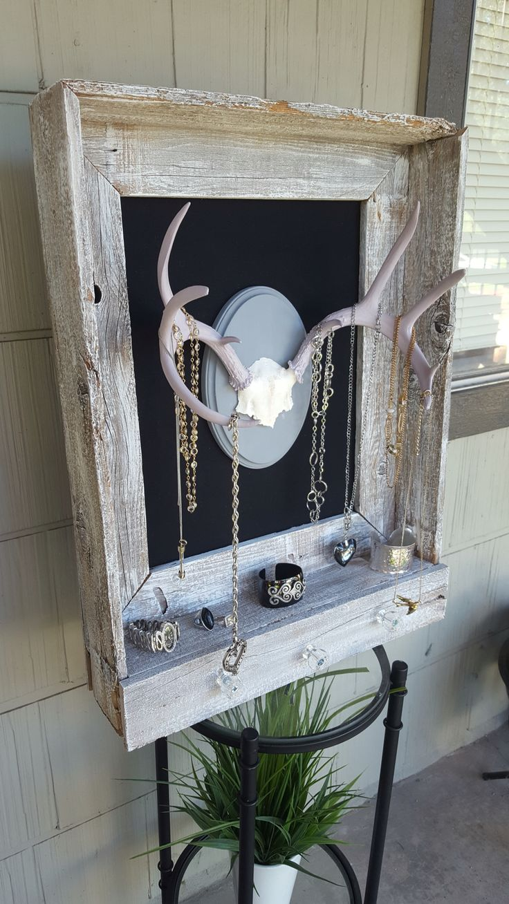 Deer skull mount ideas - Shabbychic Jewelry Holder From Weathered Fence Pickets And Authentic Deer Antlers 75