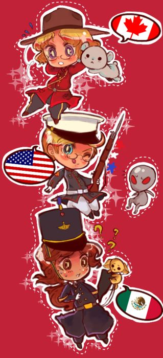 hetalia america mexico and canada Nafta trio || It makes me a little glad to see fanart of Mexico, since i'm mexican,