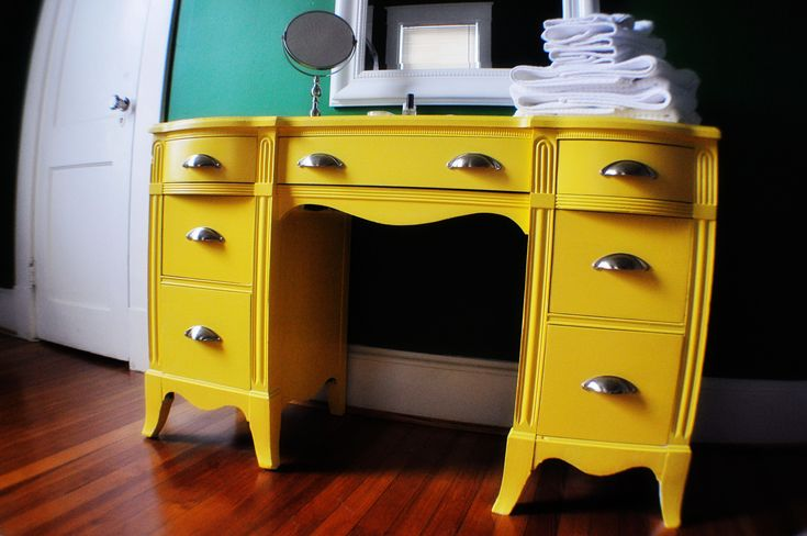 Refinished yellow desk for our office