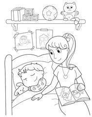 Illustrazione: Bambino addormentato con la mamma