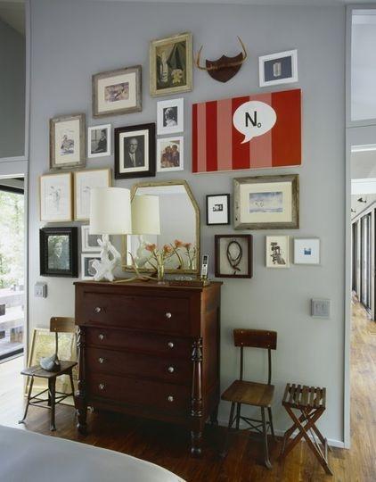 eclecticWall Art, Ideas, Wall Decor, Gallery Walls, Photos Wall, Gallerywall, Eclectic Bedrooms, Gray Wall, Art Wall