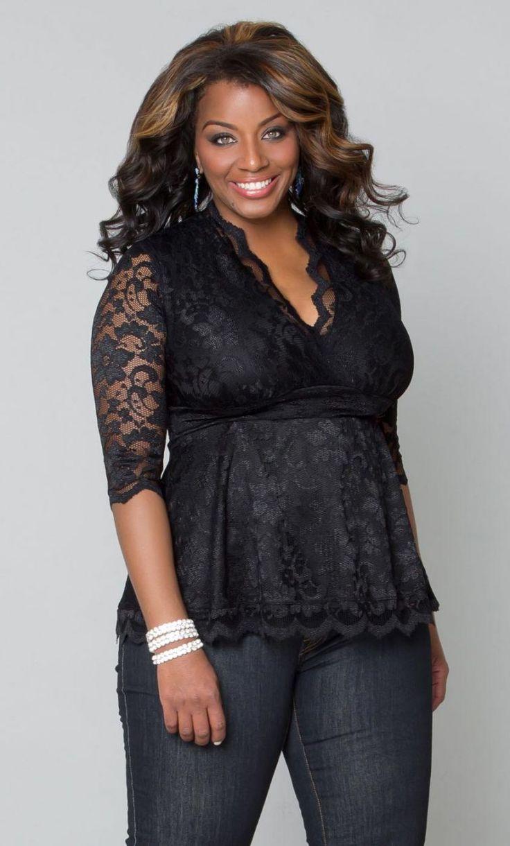Linden Lace Top, Black Lace/Black Lining (Women's Plus Size) From the Plus Size Fashion Community at www.VintageandCurvy.com