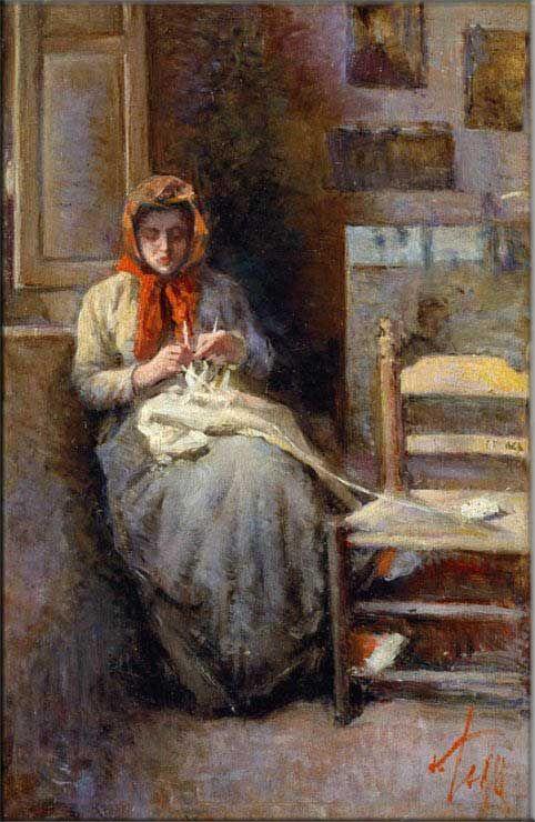 SILVESTRO LEGA Donna del Gabbro che lavora la calza