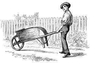 st Nicholas magazine illustration, vintage garden printable, boy pushing wheelbarrow, victorian boy clipart, black and white clip art
