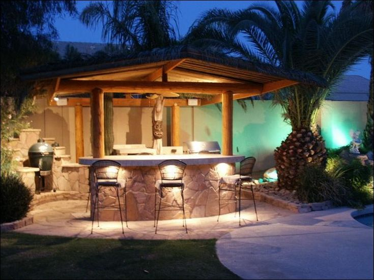 Backyard Awesome Small Gazebo Design With Outdoor Kitchen Concept Decorated With Bright Lighting Design Plus Apply Metal Bar Stools Backyard with an Outdoor Kitchen Mediterranean Style for Modern House