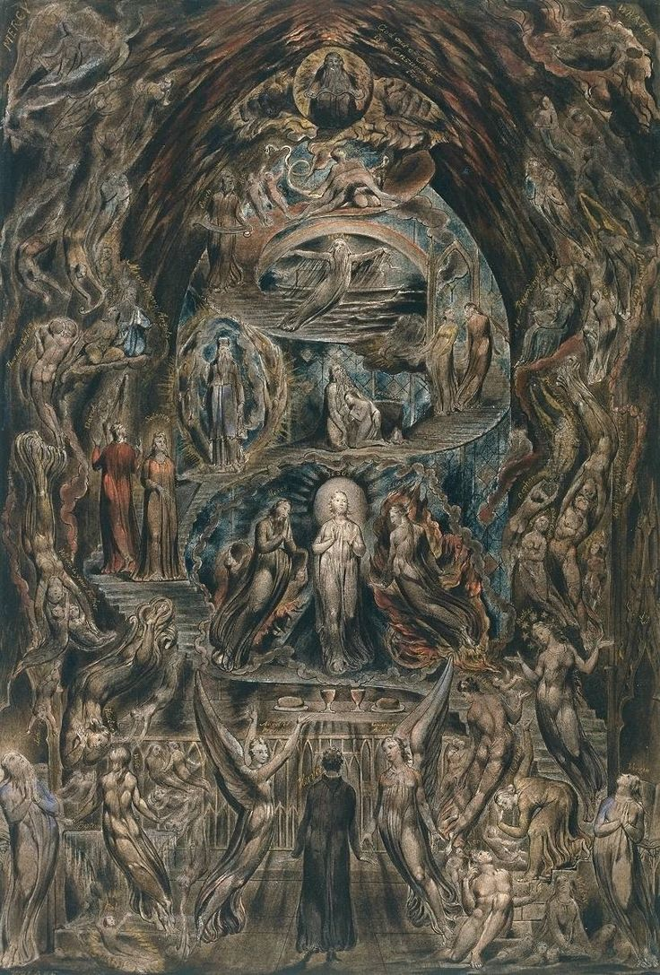 Artist William Blake (1757‑1827) Title Epitome of James Hervey's 'Meditations among the Tombs' Date c.1820-5 MediumInk, watercolour and gold paint on paper Dimensionssupport: 431 x 292 mm Collection Tate