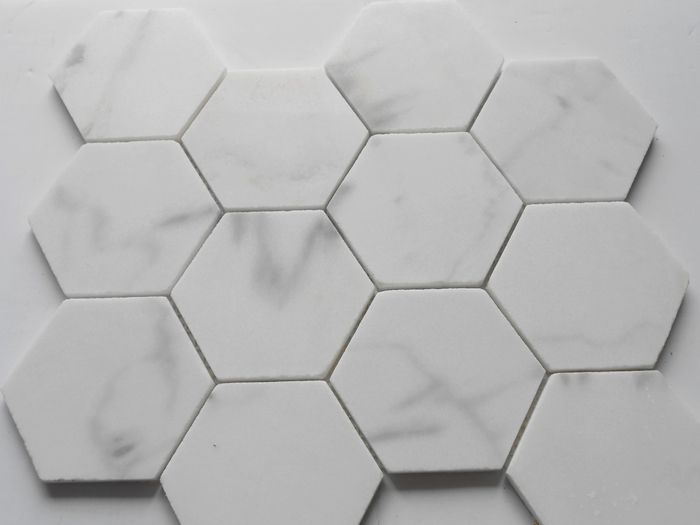 Marmer Keuken Plaat : Carrara White Italian Carrera Marble Hexagon Mosaic Tile Polished for