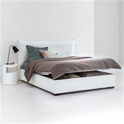 Lit complet, tête de lit rembourrée façon gros oreiller à volant, sommier, rangement, Pancho