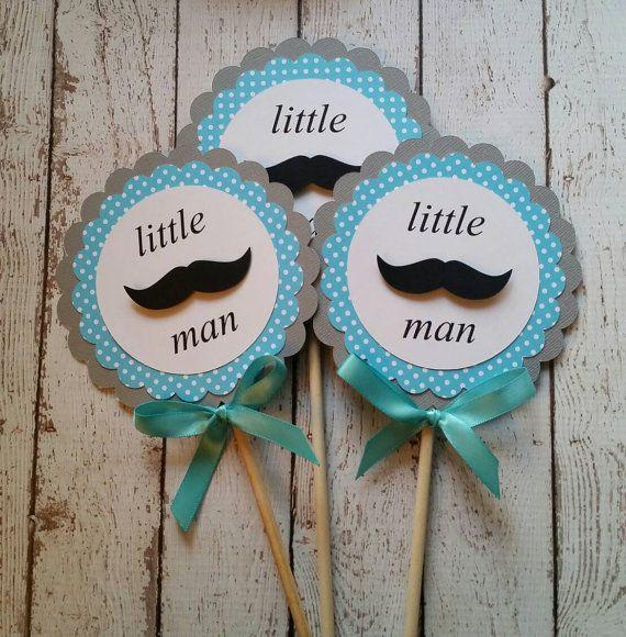 Mustache Baby Shower Decorations   Mustache Centerpiece   Gender Reveal  Party Decor   Mustache Bash   Little Man Baby Shower