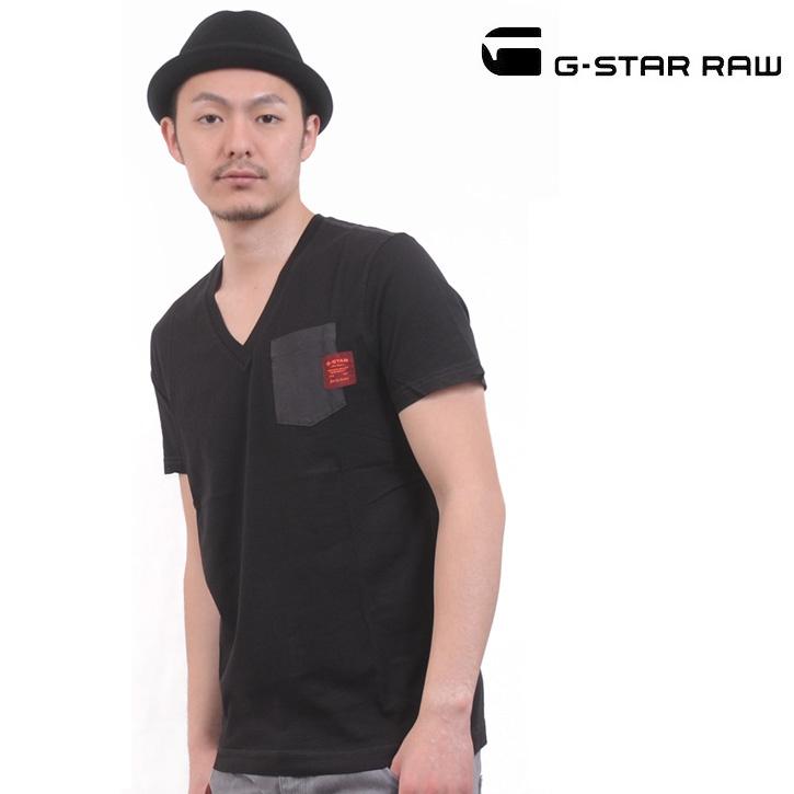 G-STAR RAW (ジースターロー) Tシャツ Vネック ブラック 胸ポケット 無地 ART DIAMO POCKET ts-gs-284
