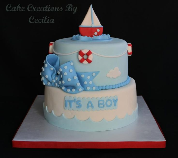 10+ ideas about Nautical Baby Shower Cakes on Pinterest ...