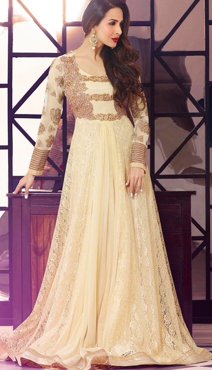 Traditional Cream Rashal Nett Anarkali Suit, Dress