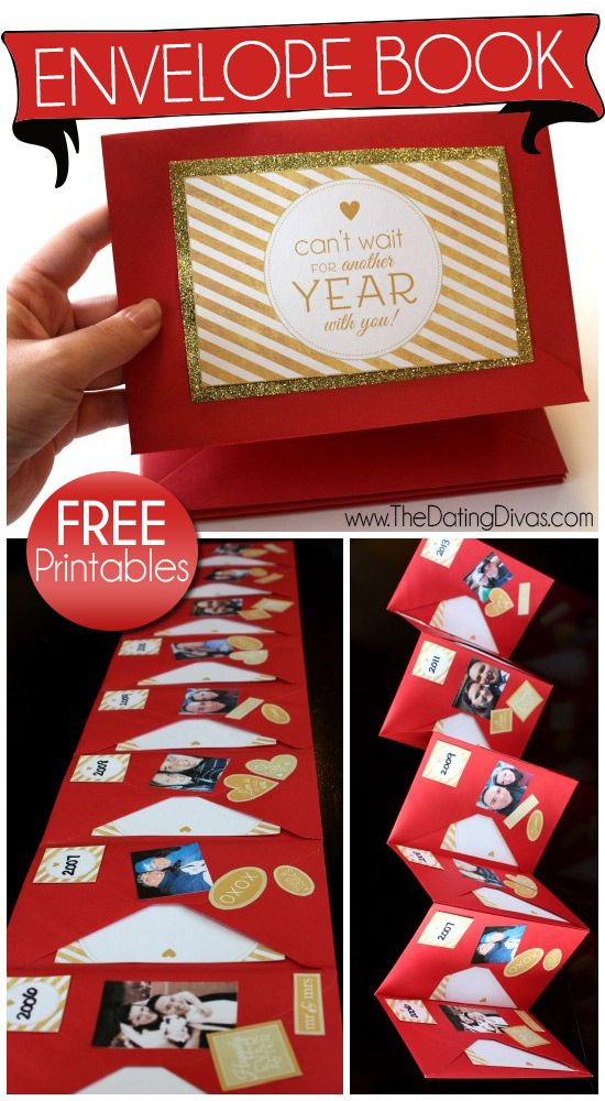 This accordion envelope book is PERFECT for a New Year's or Anniversary gift.  Just use one envelope for each year, and then fill it with a favorite memory and photo from that year. www.TheDatingDivas.com #NewYears #Anniversary #giftidea