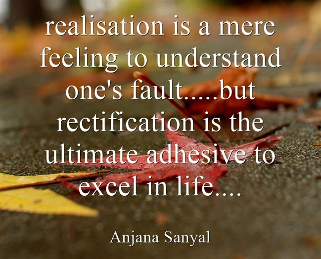 realisation is a mere feeling to understand one's fault.....but...