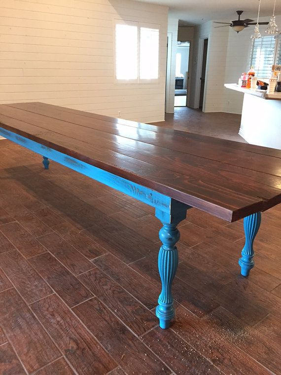 12 foot Custom Farmhouse Table, Reclaimed Wood, Distressed,Dining Table, Rustic, Restaurant Table, Turquoise (Los Angeles)