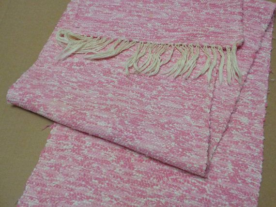 Swedish Vintage Rag Runner Speckled Pink Woven Runner size