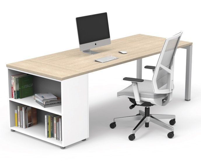 Single Cube Desk With Flexible Side Support Storage Washed Oak Tops And Silver Legs