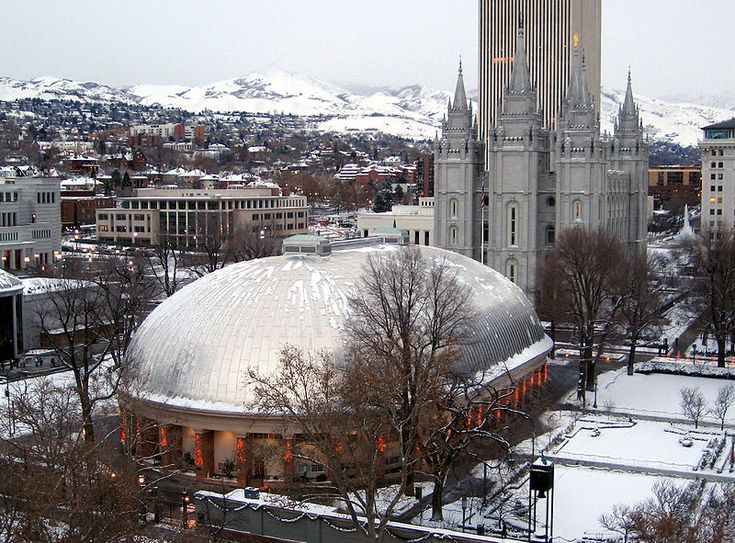 Mormon Tabernacle, Salt Lake City, Utah - Built to house meetings for The Church of Jesus Christ of Latter-day Saints & was the location of the semi-annual LDS General Conference for 132 years. The Tabernacle was built between 1864 & 1867 on the west center-line axis of the Salt Lake Temple. The roof was constructed in an Ithiel Town lattice-truss arch system that is held together by dowels & wedges. The building has a sandstone foundation, & the dome is supported by forty-four sandstone…
