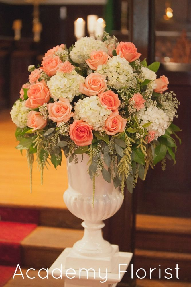 #Wedding #ceremony flowers. Garden party inspired with fresh peaches and succulents. by @Academy Sports + Outdoors Sports + Outdoors Florist peach coral altar arrangement
