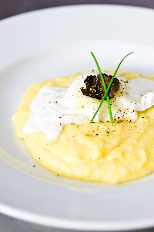 Black Truffle and Cheese Corn Grits--a use for that black truffle oil I have!