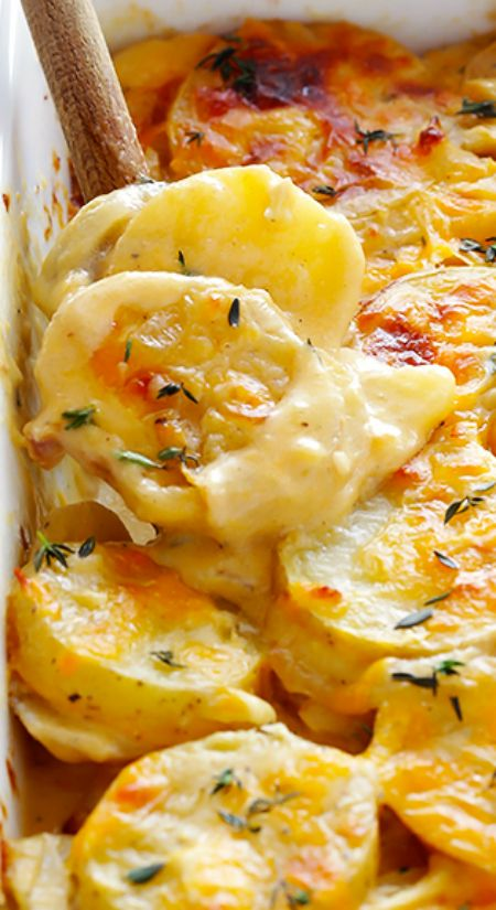 Classic Scalloped Potatoes Recipe ~ It is made lighter with milk instead of heavy cream, delicious Yukon gold potatoes, and lots of garlic and Parmesan and cheddar to make them irresistibly delicious.