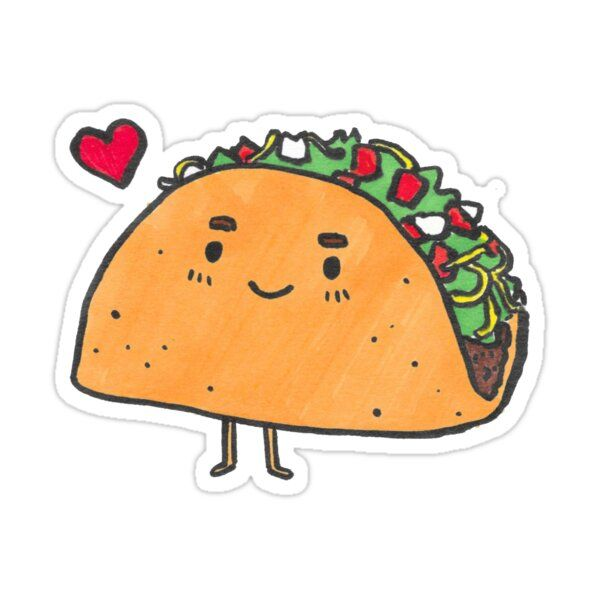 Taco Sticker By Neoma In 2021 Food Stickers Taco Drawing Tumblr Stickers