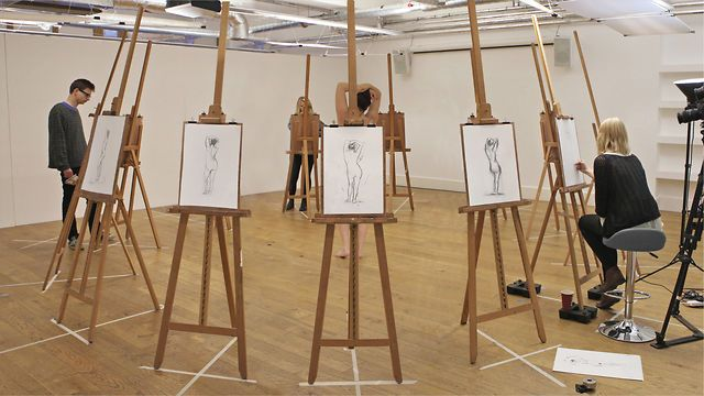 Life Drawing at The Book Club by Wriggles & Robins. Every easel in a life drawing class captures a different angle of the model.