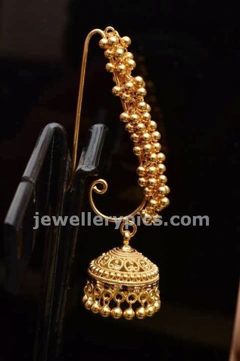jhumka allover earrings in gold beads