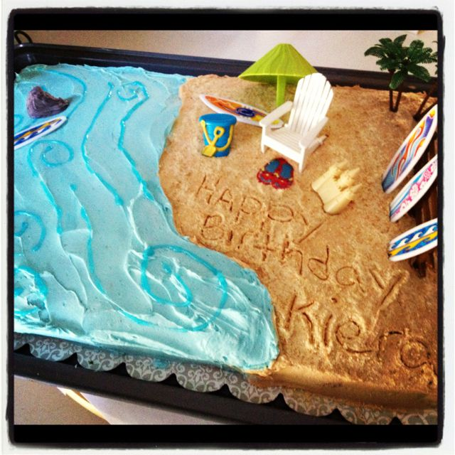 Why didn't it occur to me to write the name in the sand on the CAKE!? duh! head smack