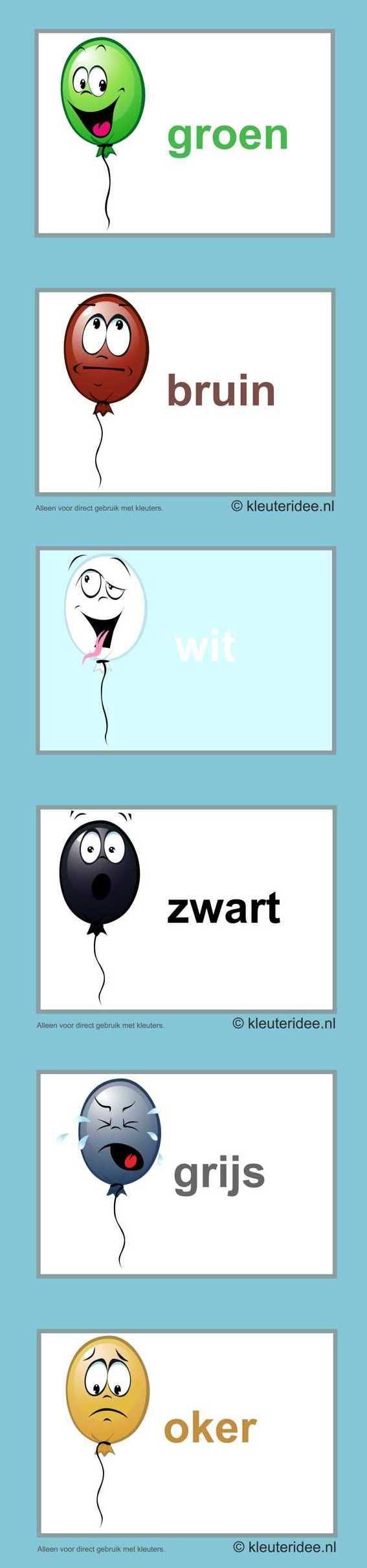 Kleurkaarten voor kleuters , kleuteridee.nl , colorcards for preschool , free printable 2