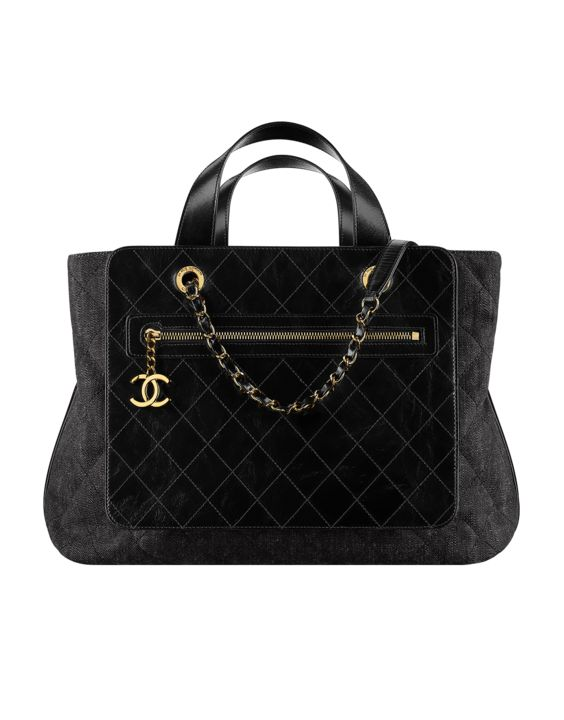 Chanel Black Denim and Calfskin Large Shopping Bag