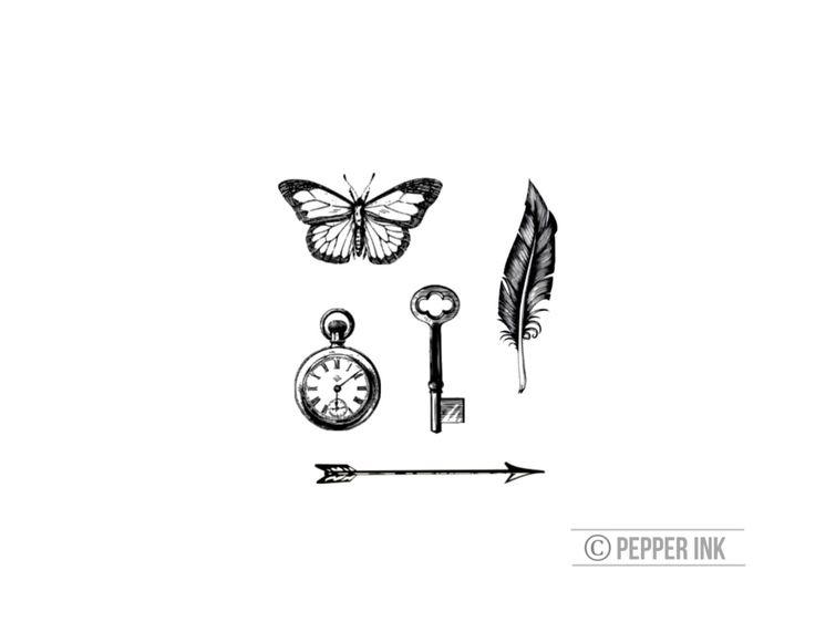 vintage tiny tattoos - NEW- arrow, key, feather, wristwatch, butterfly - tattoo for wrist by pepperink on Etsy https://www.etsy.com/listing/227873800/vintage-tiny-tattoos-new-arrow-key