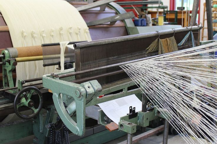 Using our natural Ecru yarn that was carded and spun on our Victorian machinery, the warp is currently being made for a new herringbone throw!  The throw will be woven our our Dobcross loom.