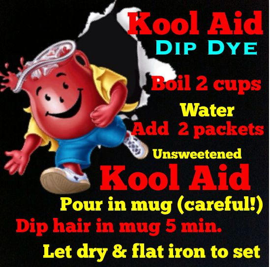 Kool Aid dip dye!   this Is NOT Permanet  You Can Take It Off By Boling Some Water Then Putting some Baking Soda Then Just put you hair in it And it'll Take Right Off