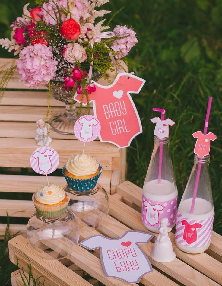 Cute and girly baby shower! See more party ideas at CatchMyParty.com!