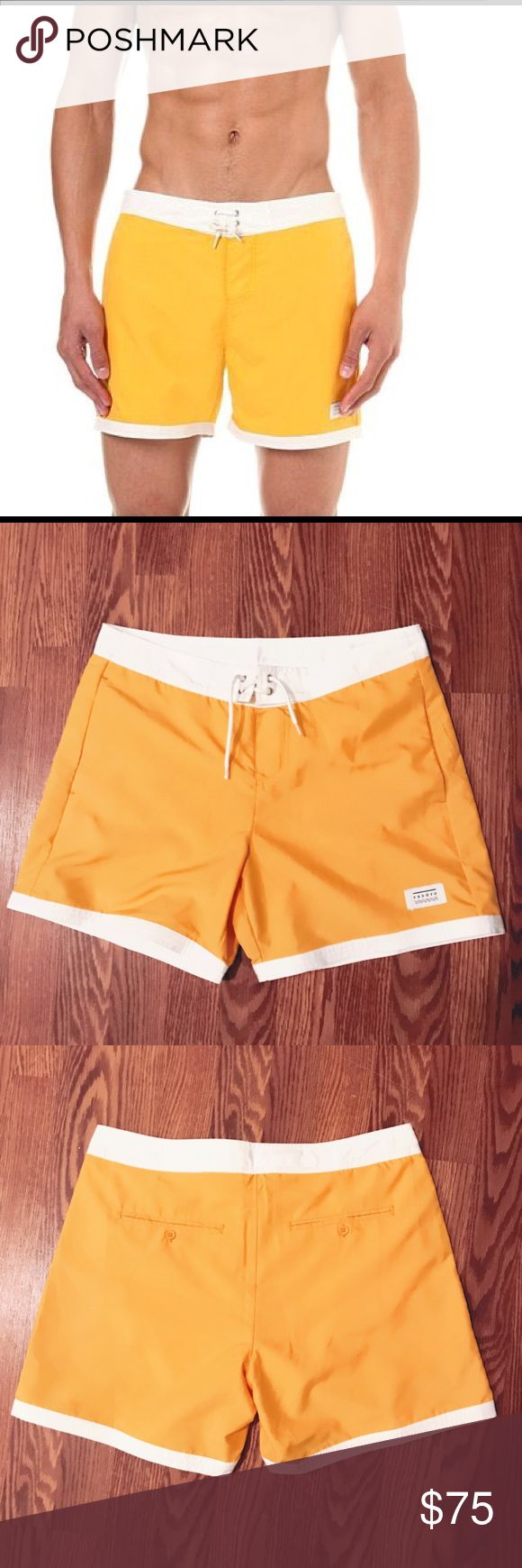 NWT SANDRO YELLOW LEROY SWIM SHORTS SIZE SMALL Designer: Sandro Description: Leroy Swim Shorts Size: Small Color: Yellow Original Price: $165 Condition: new with tags More Details: Velcro and lace up fly, 2 side slit pockets, integrated mesh briefs, 100% polyester, machine wash, made in China. Sandro Swim Swim Trunks
