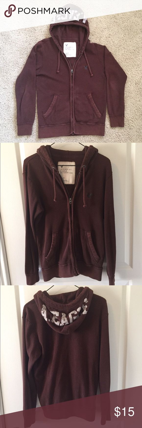 American Eagle maroon men's lightweight jacket AE maroon jacket. Drawstring hoodie. Zipper front. 2 front pockets. 100% cotton. American Eagle Outfitters Jackets & Coats Lightweight & Shirt Jackets