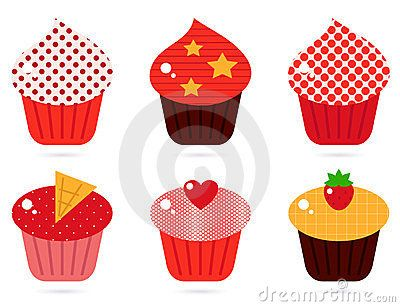 Cupcakes icons collection. Vector cartoon