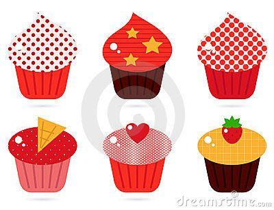 Cupcakes icons collection. Vector cartoon
