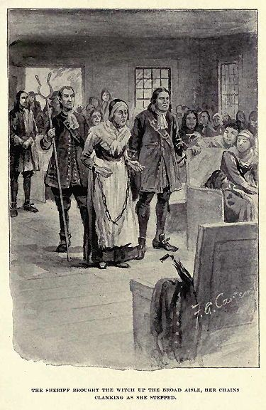 """""""The Sheriff brought the witch up the broad aisle, her chains clanking as she stepped."""" illustration of Rebecca Nurse by Freeland A. Carter published in """"The Witch of Salem, or Credulity Run Mad"""" by John R. Musick circa 1893. #salemwitchtrials"""