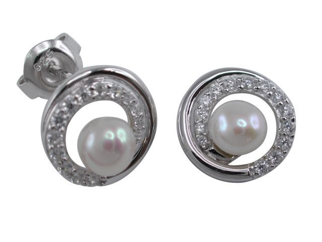 Sterling Silver 5mm White Freshwater Pearl & White Cubic Zirconia 12mm Spiral Stud Earrings