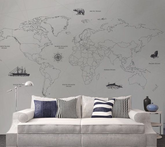 Best 25 grey map wallpaper ideas on pinterest bedroom wallpaper world map wall mural matt finish or fabric self adhesive available nautical theme interior design diy wallpaper custom sized mural gumiabroncs Images