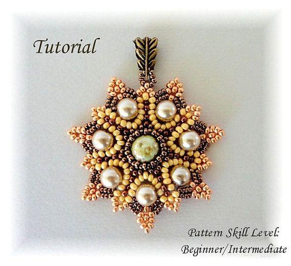 SUN FLARES beaded pendant beading tutorial beadweaving pattern seed bead beadwork jewelry beadweaving tutorials beading pattern instructions