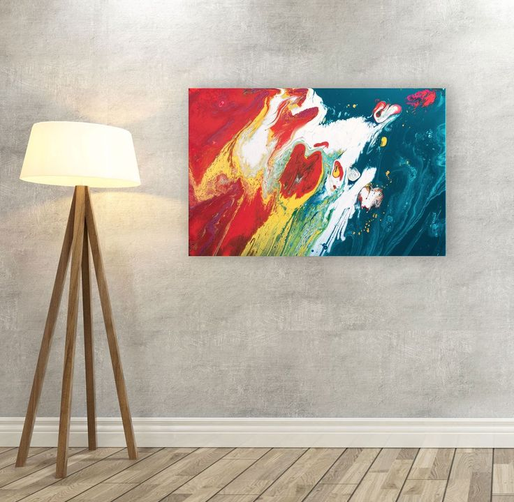 Teal turquoise orange and metallic gold original abstract painting on stretched cotton canvas