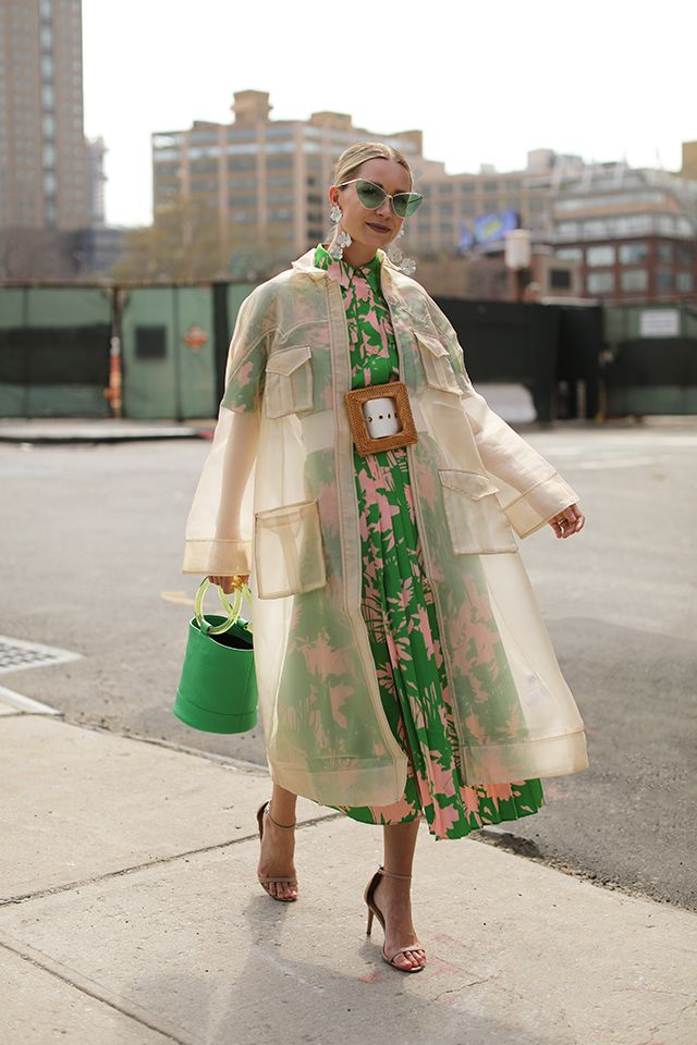 Spring layers // Blair Eadie wearing a transparent trench by Ganni, bucket bag b…