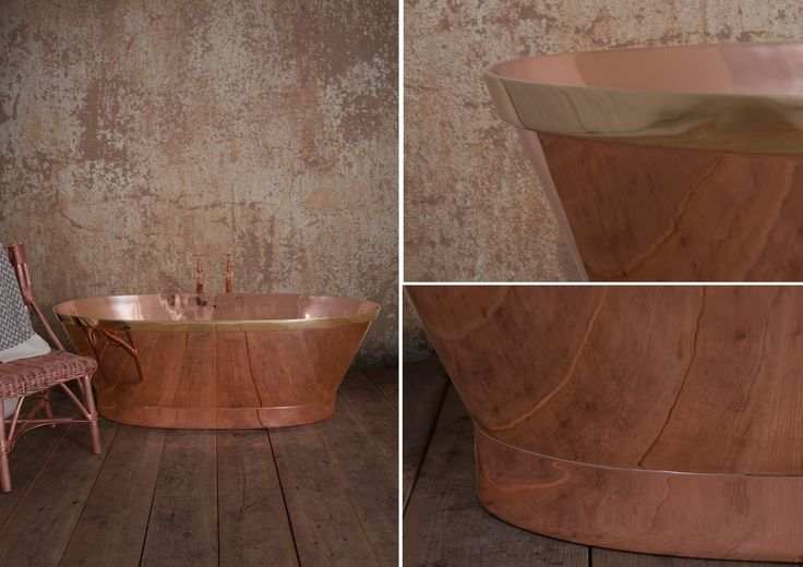 A close up of the rather dashing and exotic Barque! With its distinctive oval shape and inward graduating sides it also features a magnificent brass band around the top, its golden hue contrasting with the ruddy copper. http://www.hurlinghambaths.co.uk/copper-bath/barque